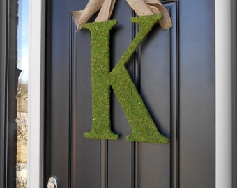 Moss Letter Wreath.  Fall Wreath.  Wood and Moss Monogram Wreath.  For the Southern Belles.