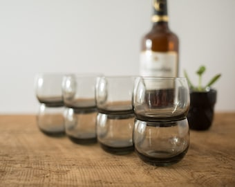 Smoke Grey Vintage Whiskey Roly Poly Drinking Glasses Barware (Mad Men 1960's Spherical Circle Style Whisky Tumblers)