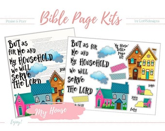 """Printable Bible Journaling Page Kit - """"My House"""" - Complete kit for Bible Pages or Journals. Fits all Journaling Bibles."""