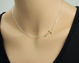 Large Sideways Cross Necklace, Sterling Silver, Celebrity Inspired,  Cross, Religious Jewelry, Off Center Cross Charm