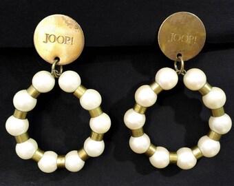 JOOP EARRINGS VINTAGE faux pearls, creolen, clips, 80s