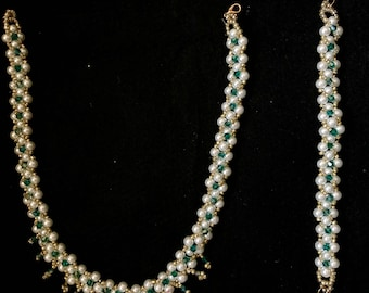 SWAROVSKI SPECIAL OFFER Necklace + Bracelet With Freshwater Pearls 100% Handmade