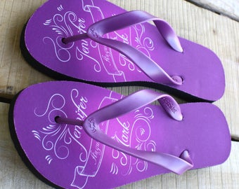Custom Flip Flops - Personalized with your names and wedding date for Bride and Groom or Wedding Guests (print design as pictured)
