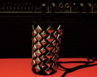 Leather and Silver Pyramid Studs Cuff Bracelet