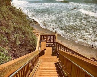Southern California Santa Barbara beach stairs ocean sand - Fine art photography print wall hanging gift