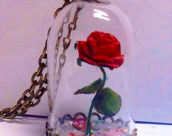 Red Rose/Enchanted Rose/Beauty and the Beast/CUSTOMIZABLE add ons/Rose Necklace/Enchanted Rose/Beauty & the Beast Inspired