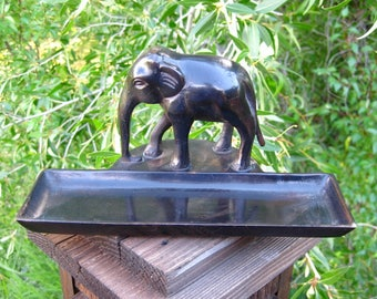Vintage Metalware Elephant Pen Tray, Trinket Tray. Office, Desk Accessory, Gift for Him