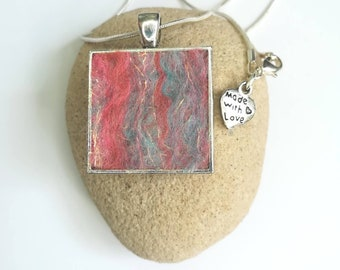 Handmade Square Felt Pendant Necklace