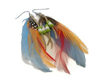 Feather Earrings, Leather Earrings, Orange and Blue, Boho Jewelry, SURGICAL STEEL Ear Wires, for Sensitive Ears, Festival Jewelry