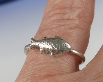 "Fine Silver Fish Tiny Spirit Ring, Symbol of ""Go-with-the-Flow"" Ring, Symbol of Intuitive Instinct Ring, Fine Silver Fish Ring Gift"