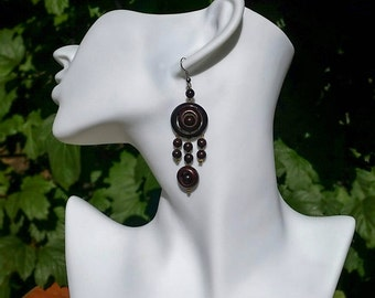 Wood Earrings, Boho Style Earrings, Chandelier Earrings for Women, Bohemian Earrings
