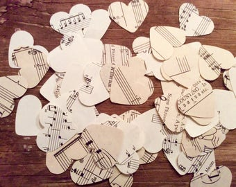 Vintage sheet music hearts, circles or stars confetti cut outs