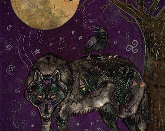 I DON'T SPEAK HUMAN 12x16 Fine Art Print, Black Wolf Art, Wolf Animal Totem, Animal Totem Art, Wild Wolf Art, Raven, Crow, Magical Art