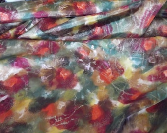 Autumn Floral Taffeta Evening Fabric