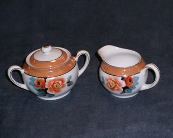 Noritake Peach Luster (Lustre) Handpainted Creamer and Sugar Bowl with Lid, Made in Japan, Wild Roses and Gold Detail