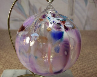 Unique Handcrafted Glass Ball with hanger Christmas Ornament