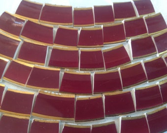 Broken China mosaic tiles~~Handcut Tile~~~ REGAL RASPBERRY