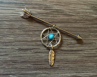 Dream Catcher Industrial Piercing Industrial Barbell Dream Catcher Native Turquoise Jewelry Turquoise Industrial Boho Piercing Southwestern