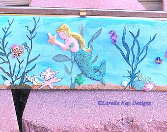 Handpainted Mermaids Paradise Handbag Clutch Purse One-of-a-Kind Mixed Media Up Cycled Art Purse