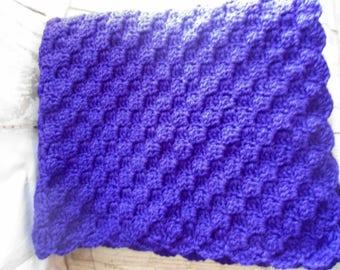 wheelchair afghan, crocheted lap afghan, crocheted throw, Wheelchair nursing home baby purple Scalloped Edges