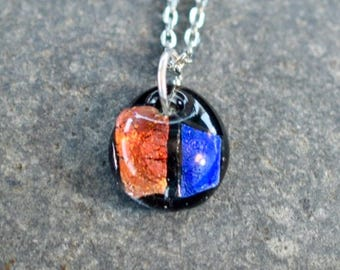 Dichroic Teeny Glass Pendant Necklace Boro Lampwork on Chain - Patriot
