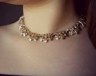 Layered Choker necklace Vintage CORO necklace Ornate necklace Silver tone link necklace Signed jewelry Girlfriend choker Wife jewelry gift