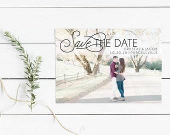 Engagement Photo Picture Save The Date Invitation Print, Custom Picture Printable Wedding Invite, Printable Digital Invitation, 5x7