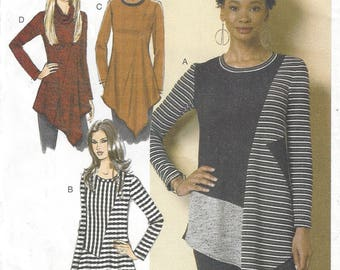 Womens Asymmetrical Tunics Stretch Knits Uneven Hemline Color Block Butterick Sewing Pattern B6377 Size 6 8 10 12 14 Bust 30 1/2 to 36 FF