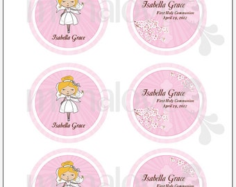 "Pink Blossom Cross Communion - DIY 3"" Favor Tags"