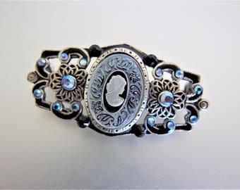 Vintage Victorian Style Blue Aurora Borealis Glass Cameo Brooch