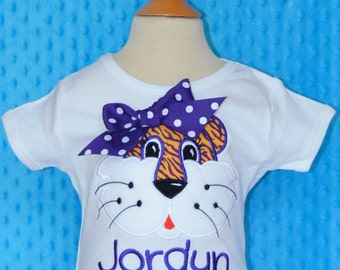 Personalized Football Tiger Face Applique Shirt or Bodysuit