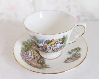 Vintage Queen Anne bone china tea cup, cottage and garden tea cup and saucer set, English china, made in England, tea lover gift for her