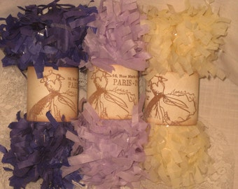 Tissue Paper Garland Festoon French Feston 6 Yards (18 Feet) Lavender Cream