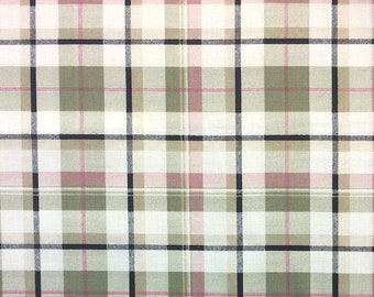 "Khaki Green, Mauve, and Taupe Plaid  - Apparel Fabric ""DK"" (12"" REMNANT)"