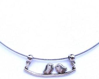 Silver bird couple necklace