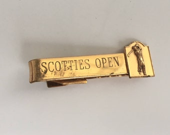 Vintage Gold Tone Scottie's Open Golf Tie Clip - Tie Pin - Mid Century Modern - Mad Men Style - For the Engineer in Your Life - 1950's