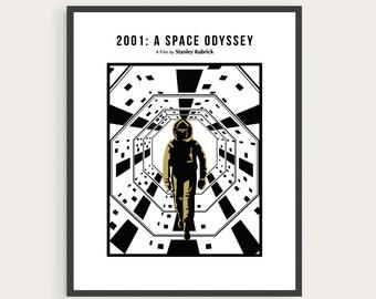 2001: A Space Odyssey, Stanley Kubrick Poster, Arthur C. Clarke, Minimal Movie Print.