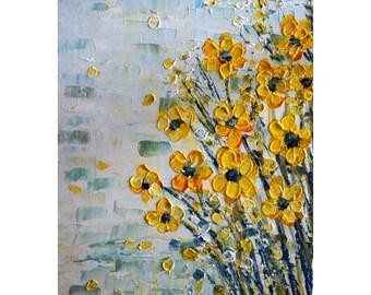 YELLOW FLOWERS White Gray Aqua Original Painting on Canvas Ready to Ship