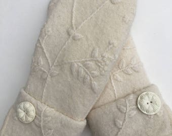 Leave it to Ivory- Repurposed sweater mitten pair with vintage button detail
