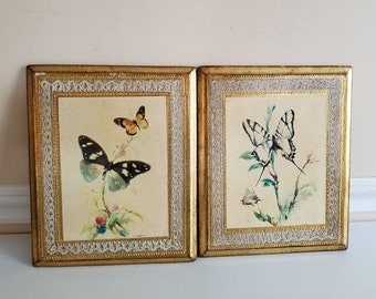 Vintage Butterfly Wall Hanging, Set of 2, Made in Italy, Florence,Wood Plaque, Floral Art, Gold Gilt, Butterflies, Country Chic, 1960s