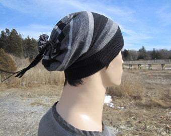 Merino Wool Beanie Men's Dress Hat Black Striped Stripe Slouchy Knit Hat A1522
