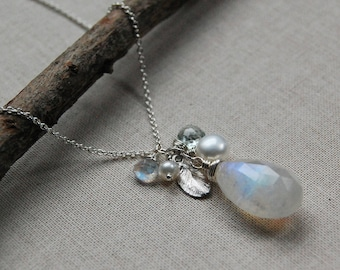 Rainbow Moonstone, White Pearl and Aquamarine Leaf Necklace in Silver