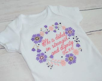 Proverbs 31 Bodysuit - BabyShower Gift - Christian Baby Gift - Baptism Gift - Gender Reveal Bodysuit - Baby Girl Bodysuit - Floral Proverbs