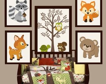 WOODLAND Nursery Art, Woodland Nursery Decor, Forest Friend Animals, Woodland Baby Shower, Canvas or Prints, Set of 5 Woodland Birthday