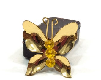 Large Gold Butterfly Brooch, Bright Goldtone & Yellow Citrine Rhinestones, Signed Coro, 1950s Vintage Insect Fashion Jewelry