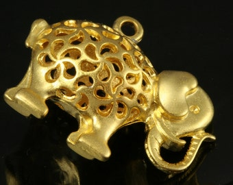 1 pc 34 x 26 mm gold plated elephant alloy finding charm pendant 273