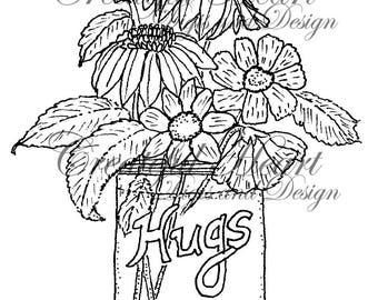 Floral Hug  digital stamp