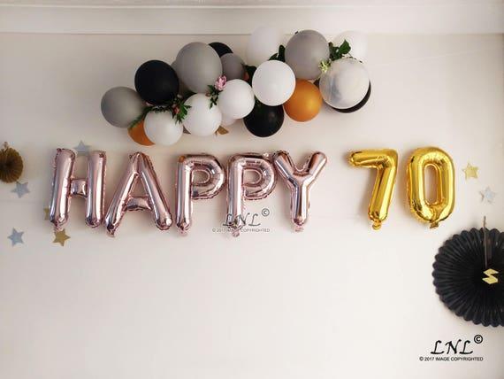 Happy 70 Rose Gold Balloons Birthday Ballloons Garland