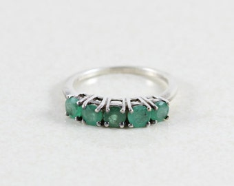 Sterling Silver Natural Green Emerald Ring Size 7 3/4