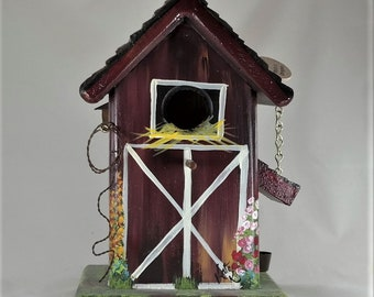 Red Brown Barn Birdhouse , Home Sweet Home Sign , with Rope , Bucket , Shovel , Pickup  Inside Barn
